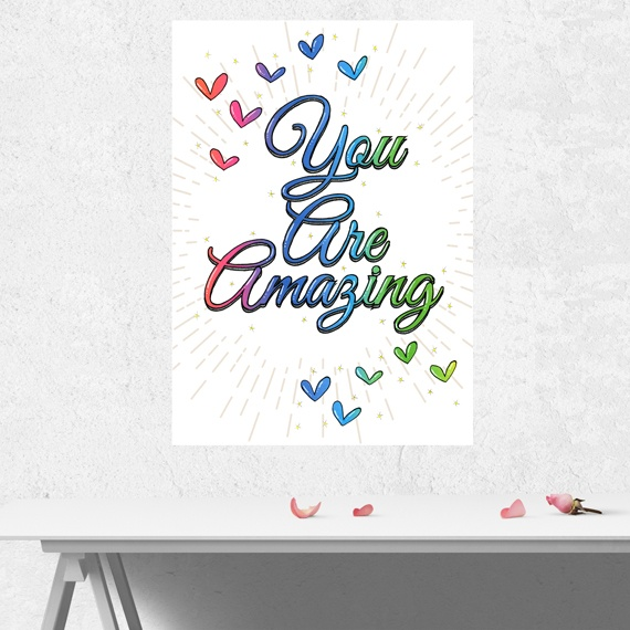 Positive Artwork Poster Print With Positive Quote – You Are Amazing Kind Shop