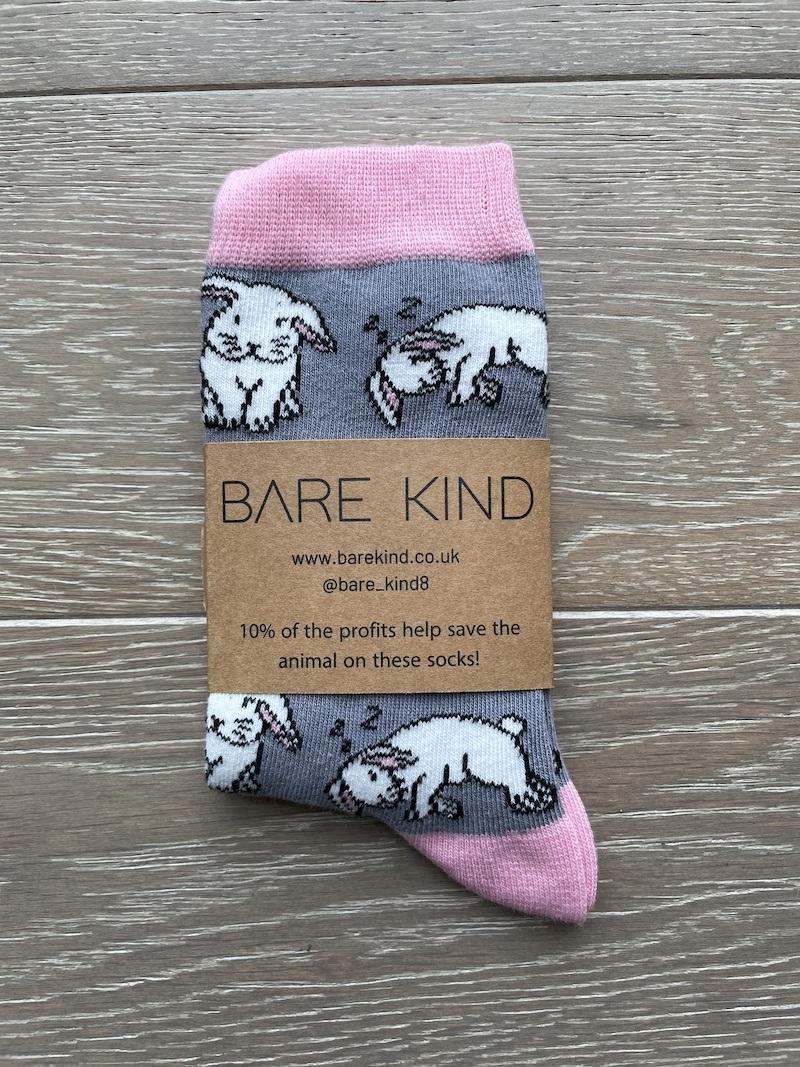 'Save the Rabbits' Bamboo Bunny Socks Kind Shop 3