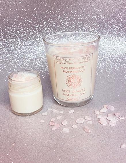 Rose Quartz Crystal Candle Set Kind Shop