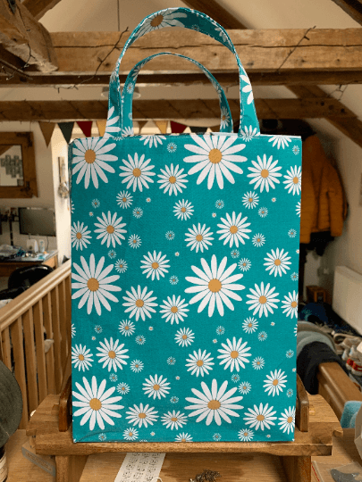 Tall Large Reusable Fabric Gift Bag with Handles (Turquoise Daisies) Kind Shop