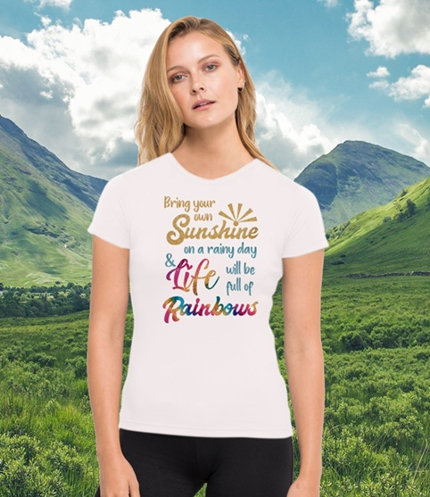 Bring your own sunshine on a rainy day and life will be full of rainbows. Environmentally friendly gym running top made from recycled plastic bottles. Kind Shop