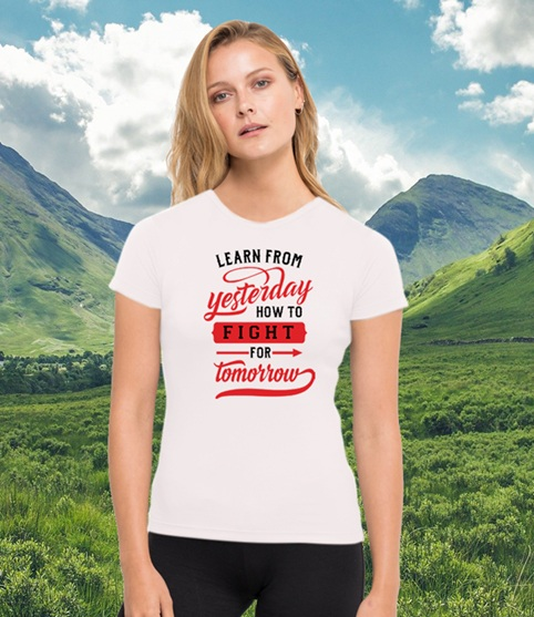 Learn from yesterday how to fight for tomorrow environmentally friendly gym running top made from recycled plastic bottles Kind Shop
