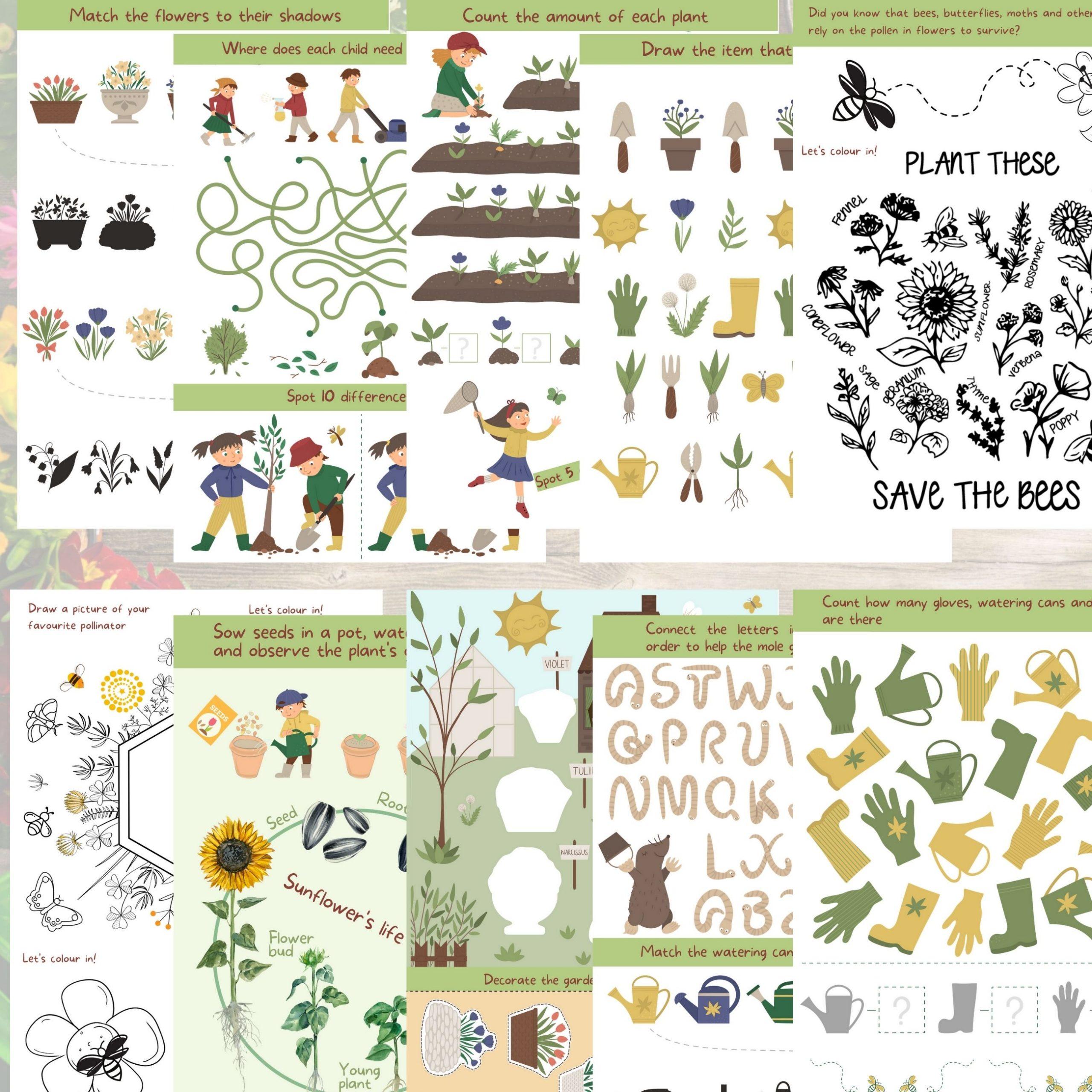 Eco friendly gardening activity booklet