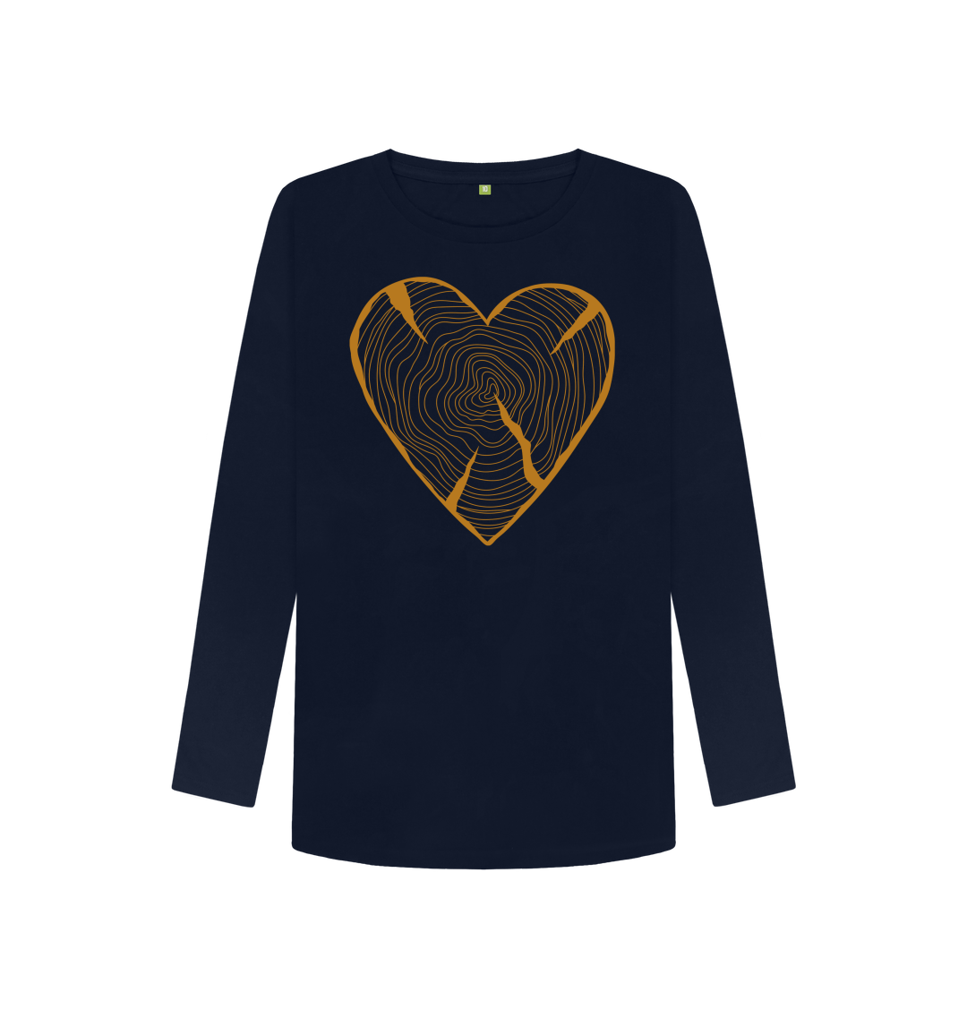 Women's Nature Lovers Adventure Heart Tree Trunk Rings Long Sleeved Top – Organic Cotton, Vegan Kind Shop 7
