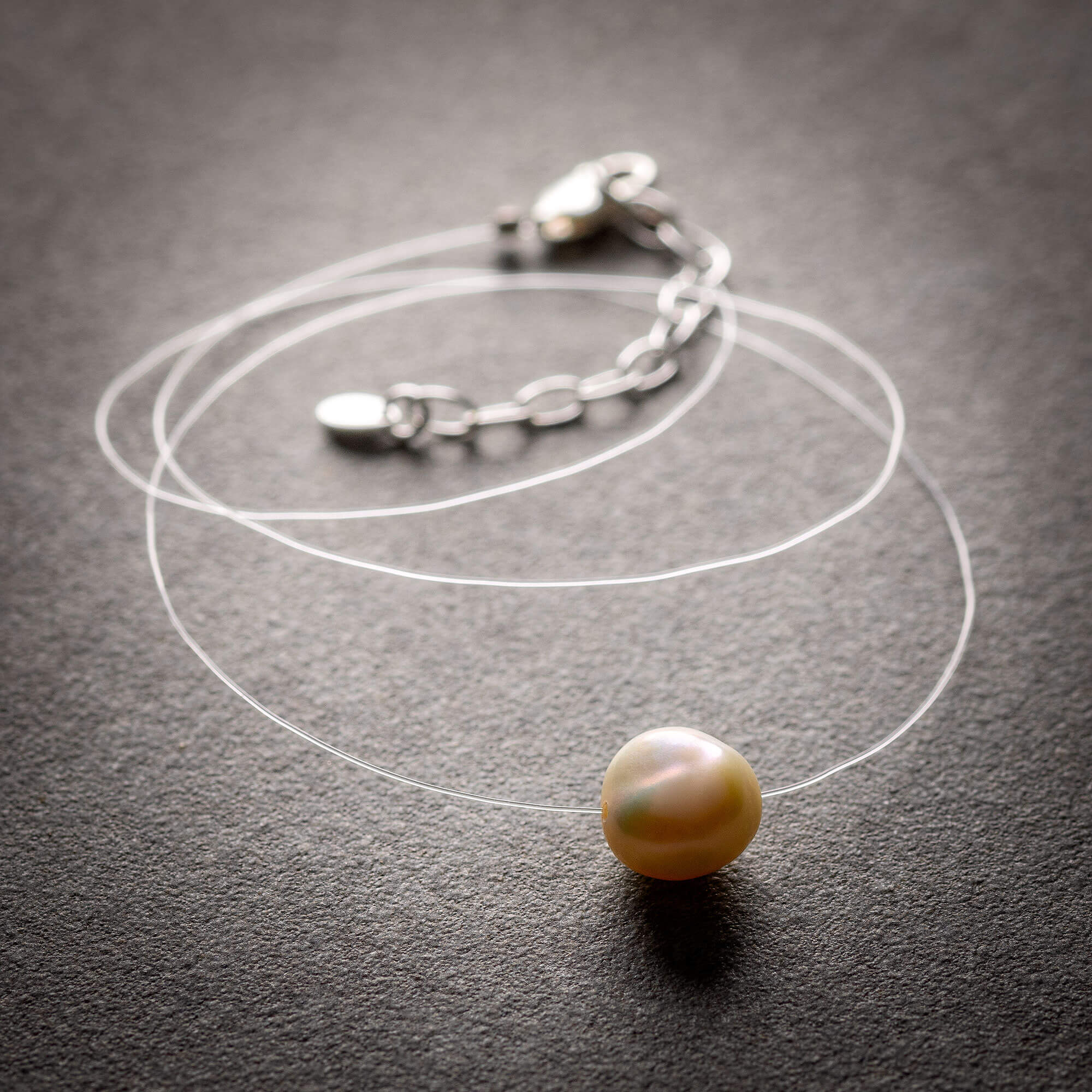 Floating White Freshwater Pearl Necklace - Ethical Jewellery