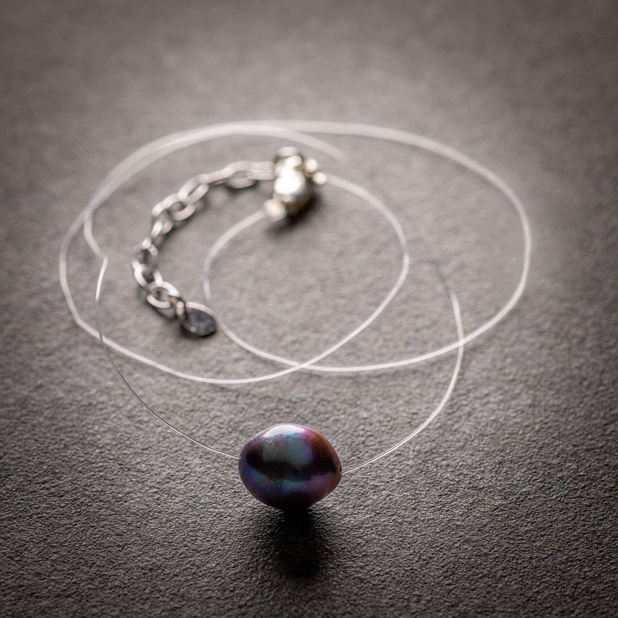 Black Pearl floating pendant