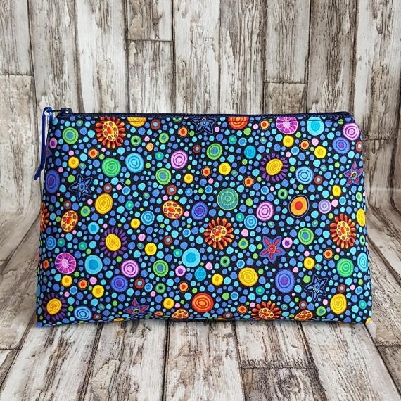 Recycled Fabric Toiletries Bag, Open Wide Flat Bottom   Colourful Spots Kind Shop