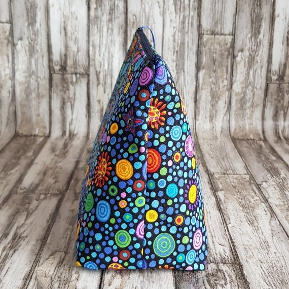 Recycled Fabric Toiletries Bag, Open Wide Flat Bottom   Colourful Spots Kind Shop 2