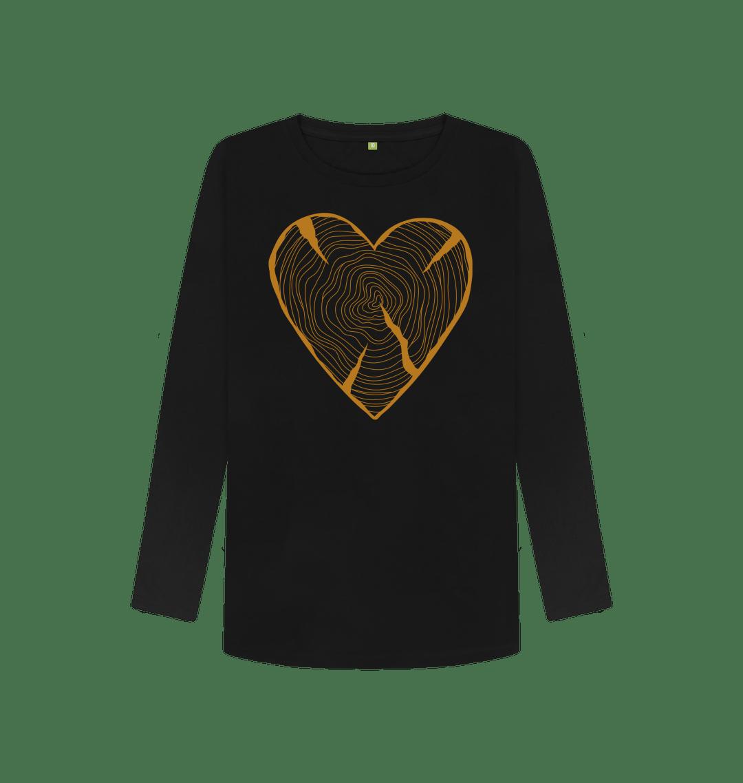 Women's Nature Lovers Adventure Heart Tree Trunk Rings Long Sleeved Top – Organic Cotton, Vegan Kind Shop 5