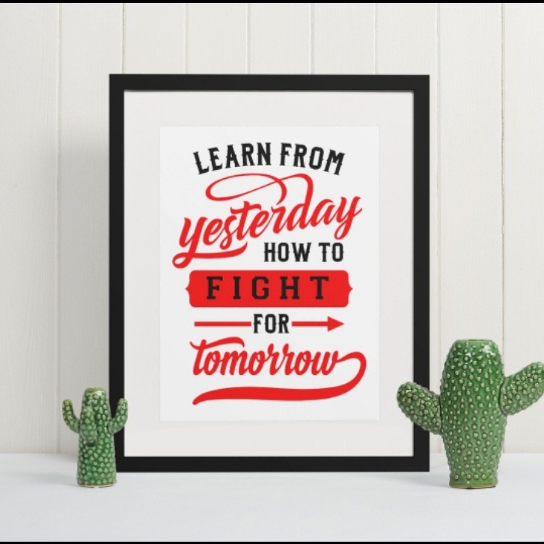 Positive postcard learn from today how to fight for tomorrow. Motivational uplifting quote postcard Kind Shop 3