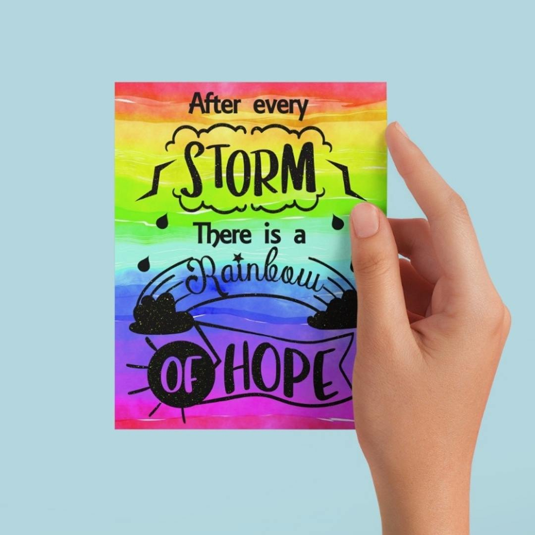 Positive postcard after every storm there is a rainbow of hope. Supportive uplifting quote postcard. Kind Shop