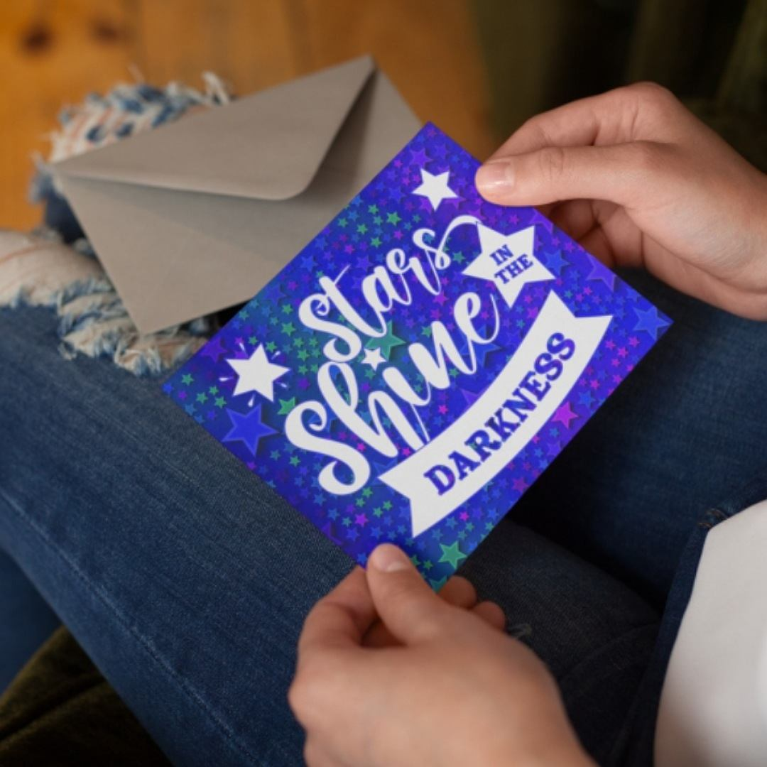 Positive postcard stars shine in the darkness. Ideal as random acts of kindness. Kind Shop