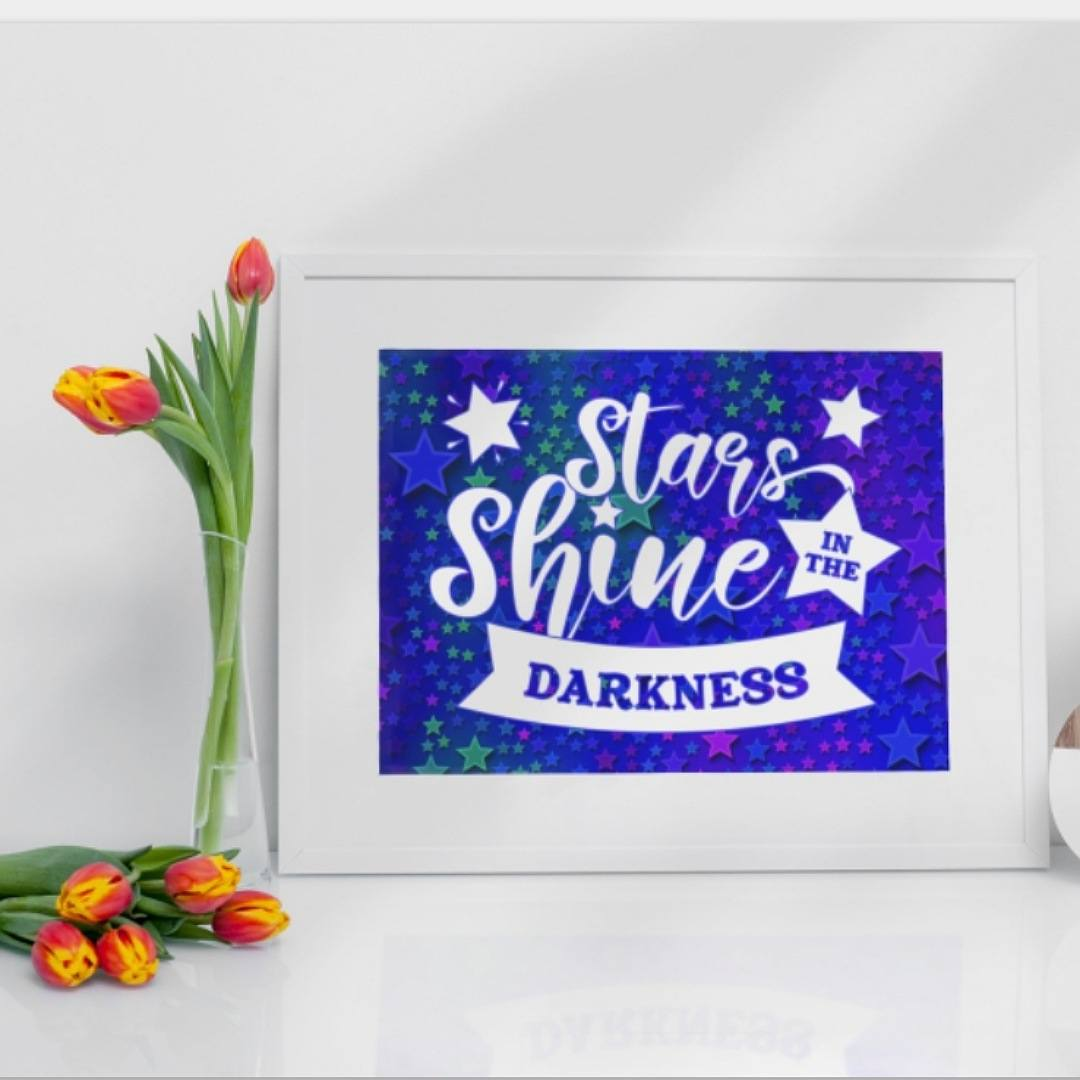 Positive postcard stars shine in the darkness. Ideal as random acts of kindness. Kind Shop 2