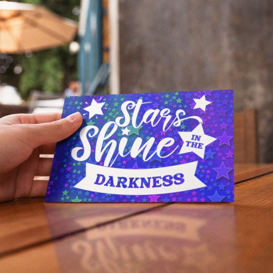 Positive postcard stars shine in the darkness. Ideal as random acts of kindness. Kind Shop 3