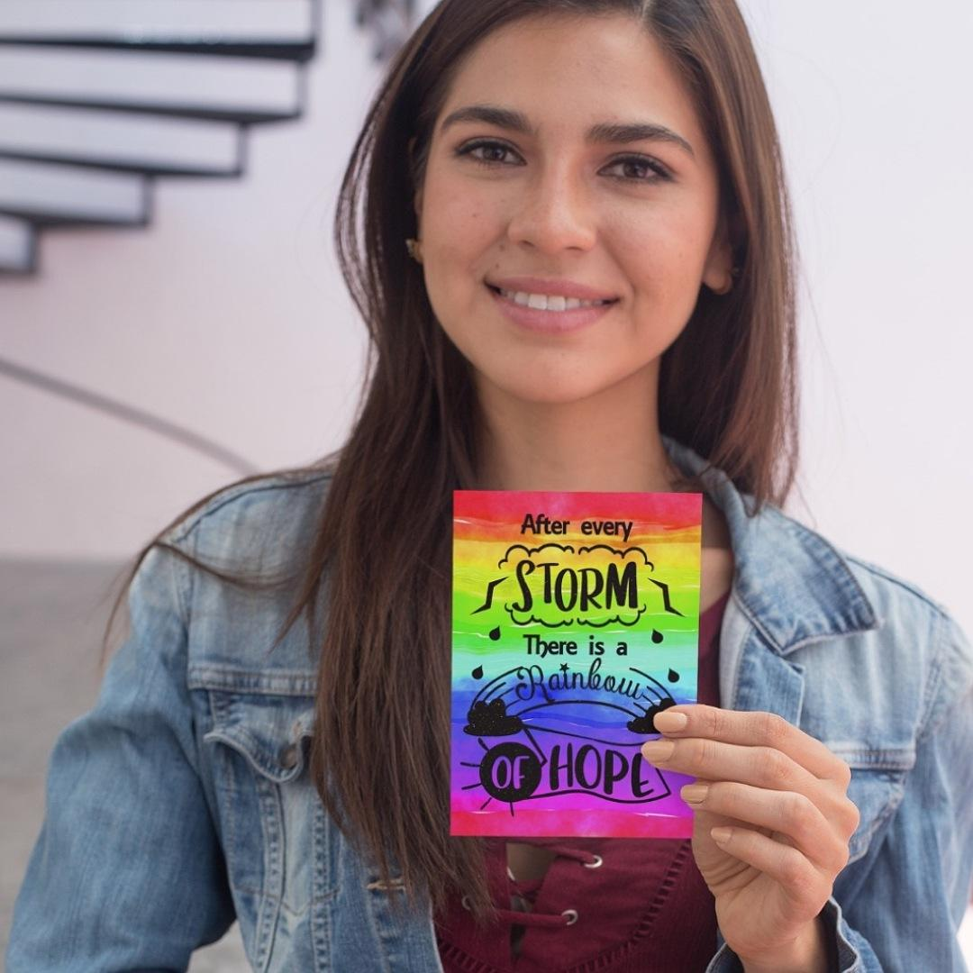Positive postcard after every storm there is a rainbow of hope. Supportive uplifting quote postcard. Kind Shop 3
