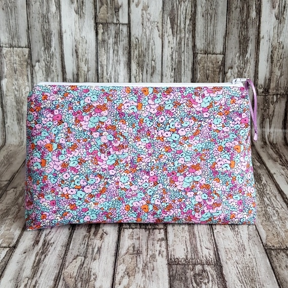 Recycled Fabric Make Up Bag, Open Wide Flat Bottom | Small Flower Print Kind Shop
