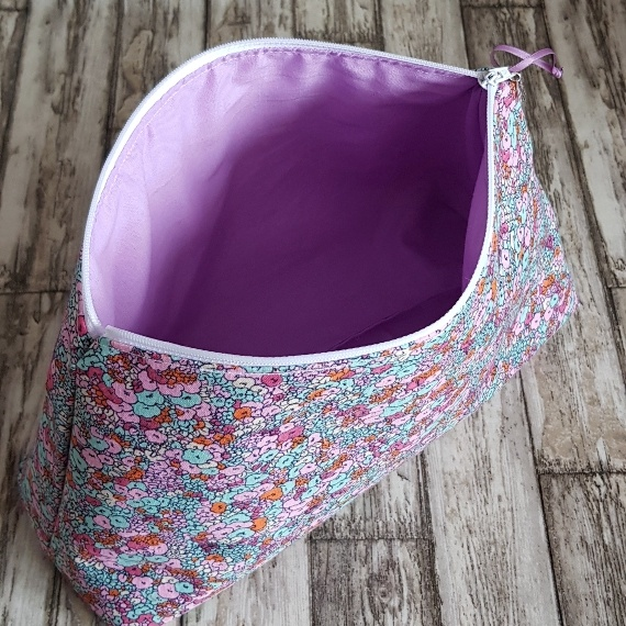 Recycled Fabric Make Up Bag, Open Wide Flat Bottom | Small Flower Print Kind Shop 4