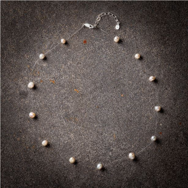 Floating white pearl necklace