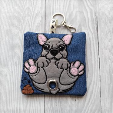 French Bulldog Eco Plastic Free Dog Poo Bag Holder – Blue/grey Kind Shop