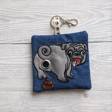 Pug Eco Plastic Free Dog Poo Bag Holder – grey/blue Kind Shop