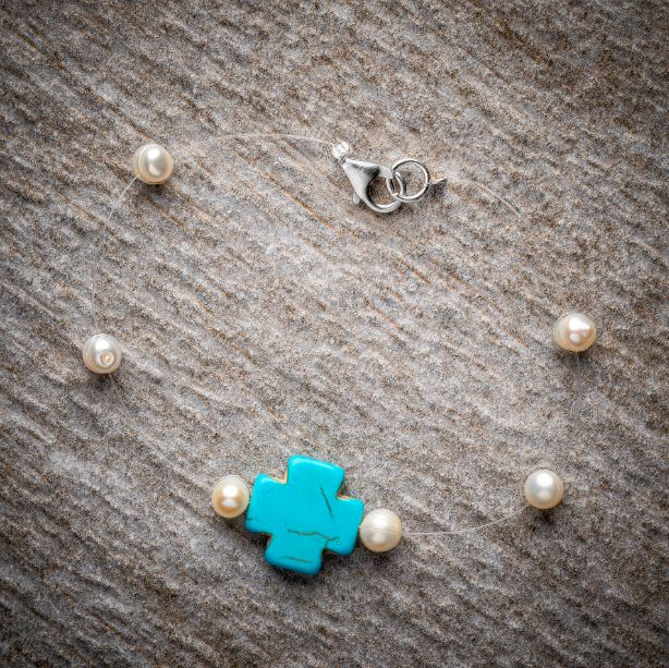 Make Your Own Set – Turquoise Howlite Cross with Pearls, Necklace and Bracelet Kind Shop 3