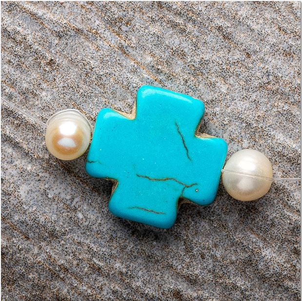 Make Your Own Set – Turquoise Howlite Cross with Pearls, Necklace and Bracelet Kind Shop 2