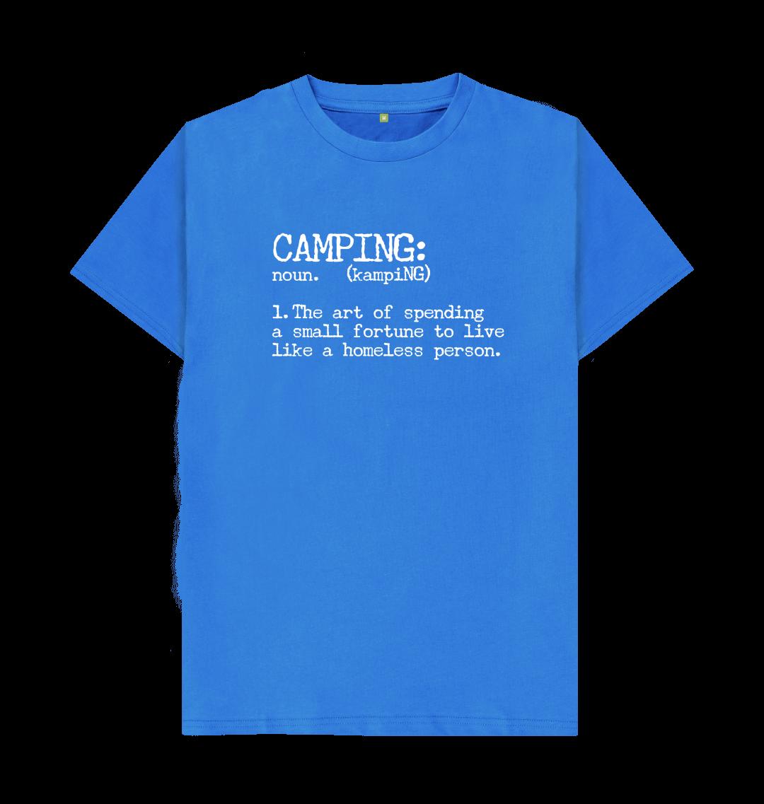 Camping Definition Funny Mens T Shirt Top - Organic Cotton, Vegan blue