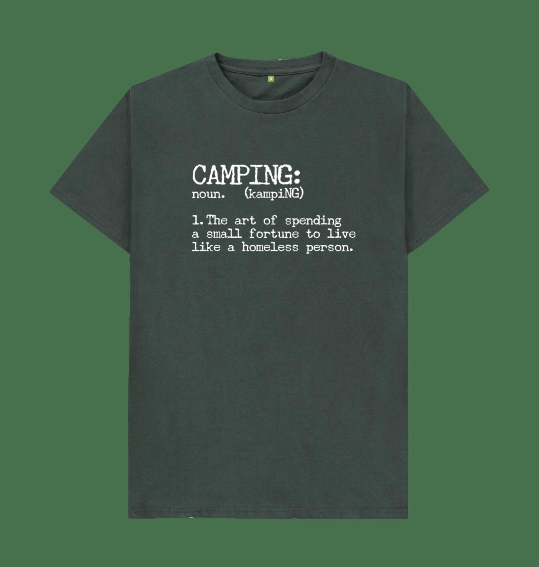 Camping Definition Funny Mens T Shirt Top - Organic Cotton, Vegan dark grey