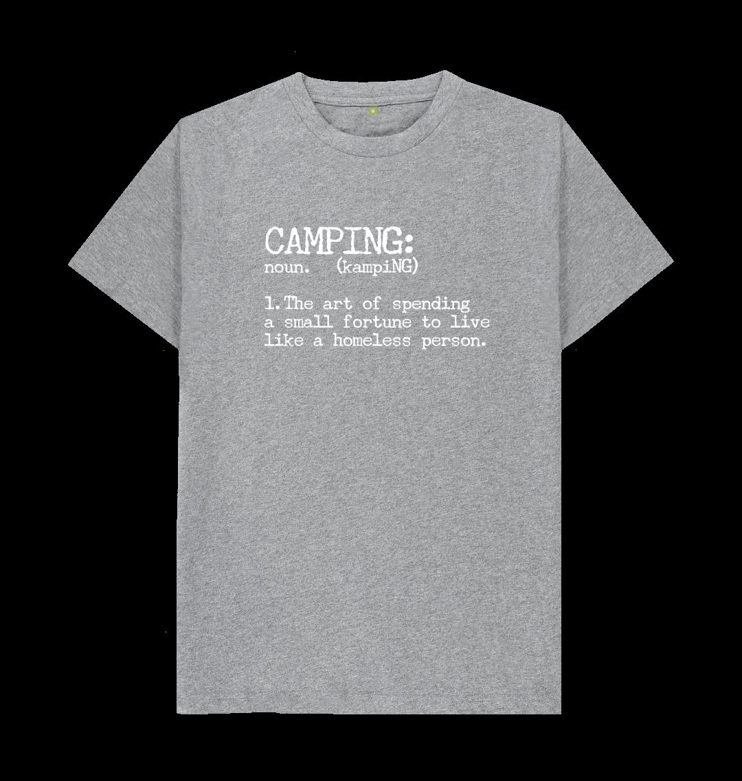 Camping Definition Funny Mens T Shirt Top - Organic Cotton, Vegan grey