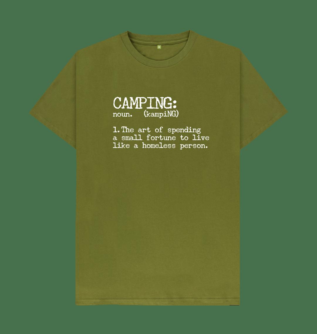 Camping Definition Funny Mens T Shirt Top - Organic Cotton, Vegan moss green