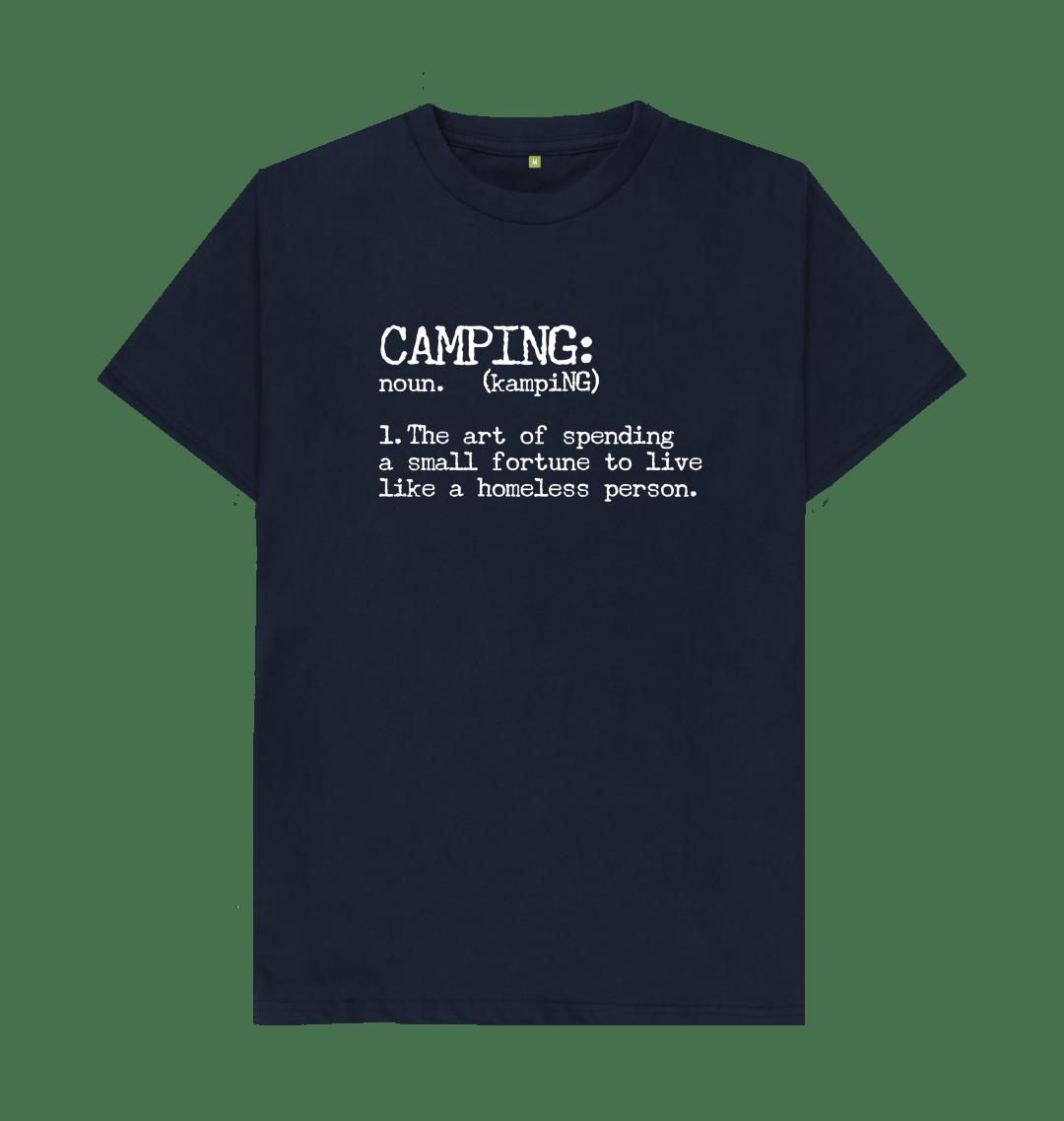 Camping Definition Funny Mens T Shirt Top - Organic Cotton, Vegan navy