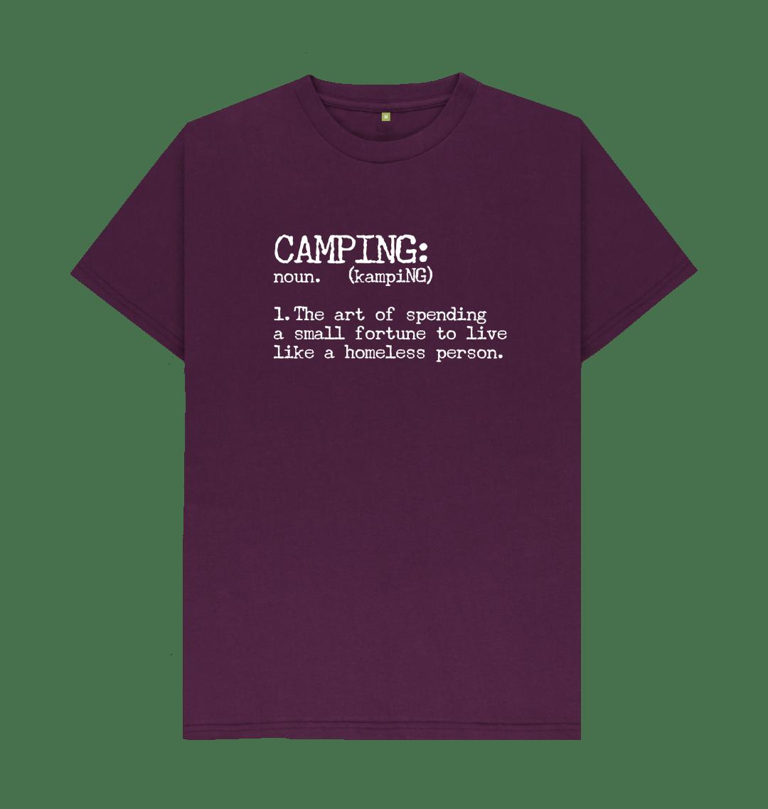 Camping Definition Funny Mens T Shirt Top - Organic Cotton, Vegan purple