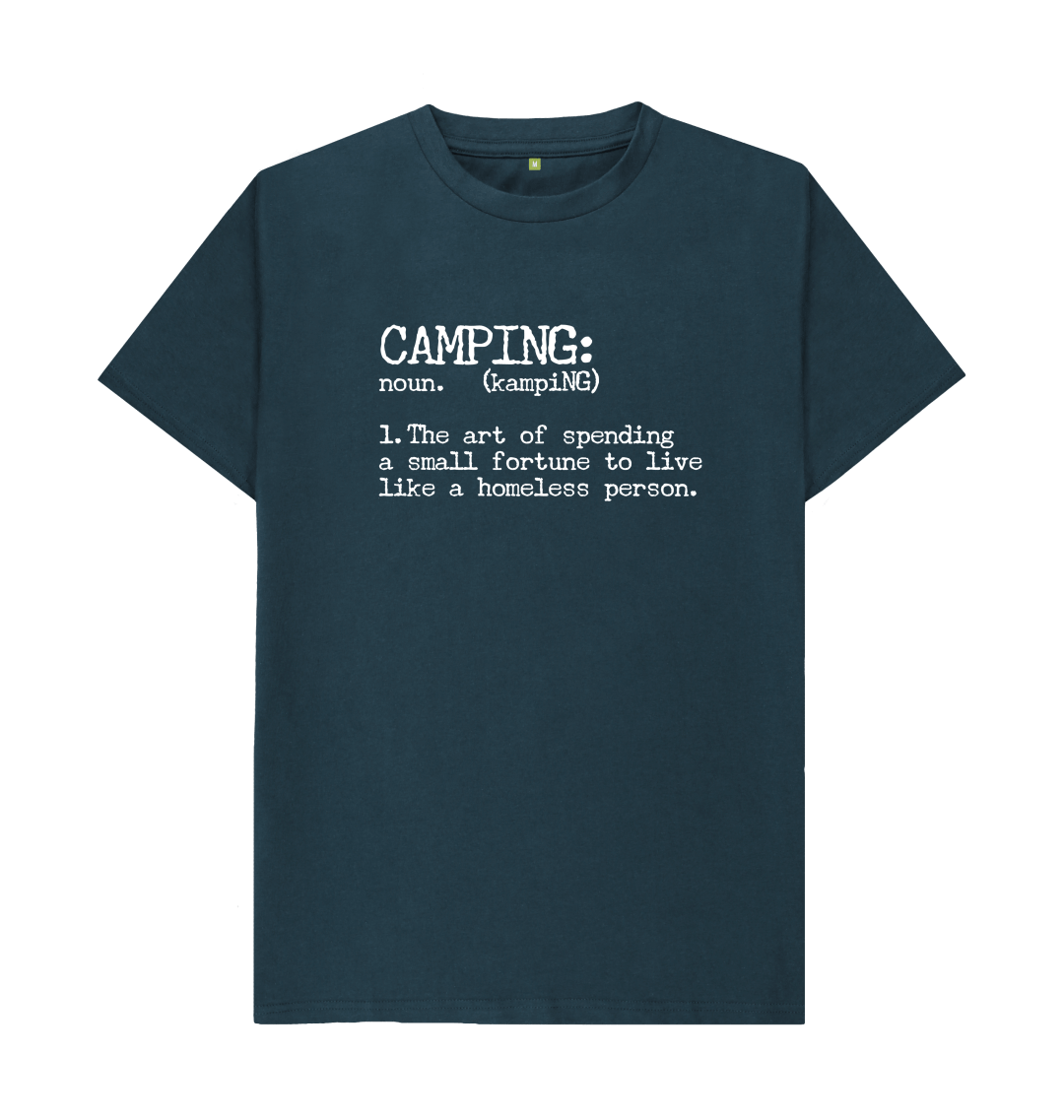 Camping Definition Funny Mens T Shirt Top - Organic Cotton, Vegan denim blue