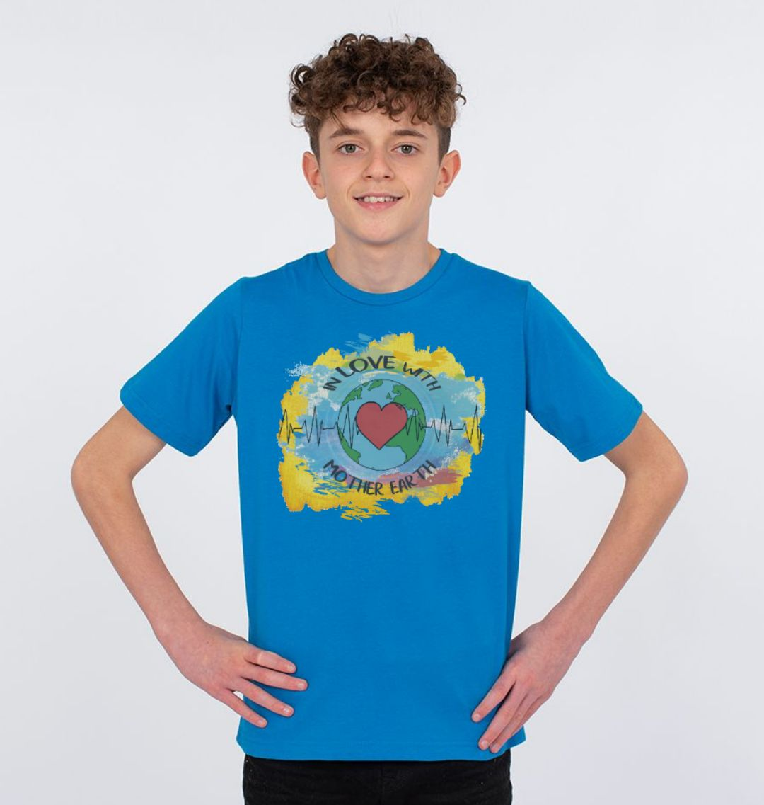 Children's Climate T Shirt 'In Love With Mother Earth' Soft Organic Cotton blue