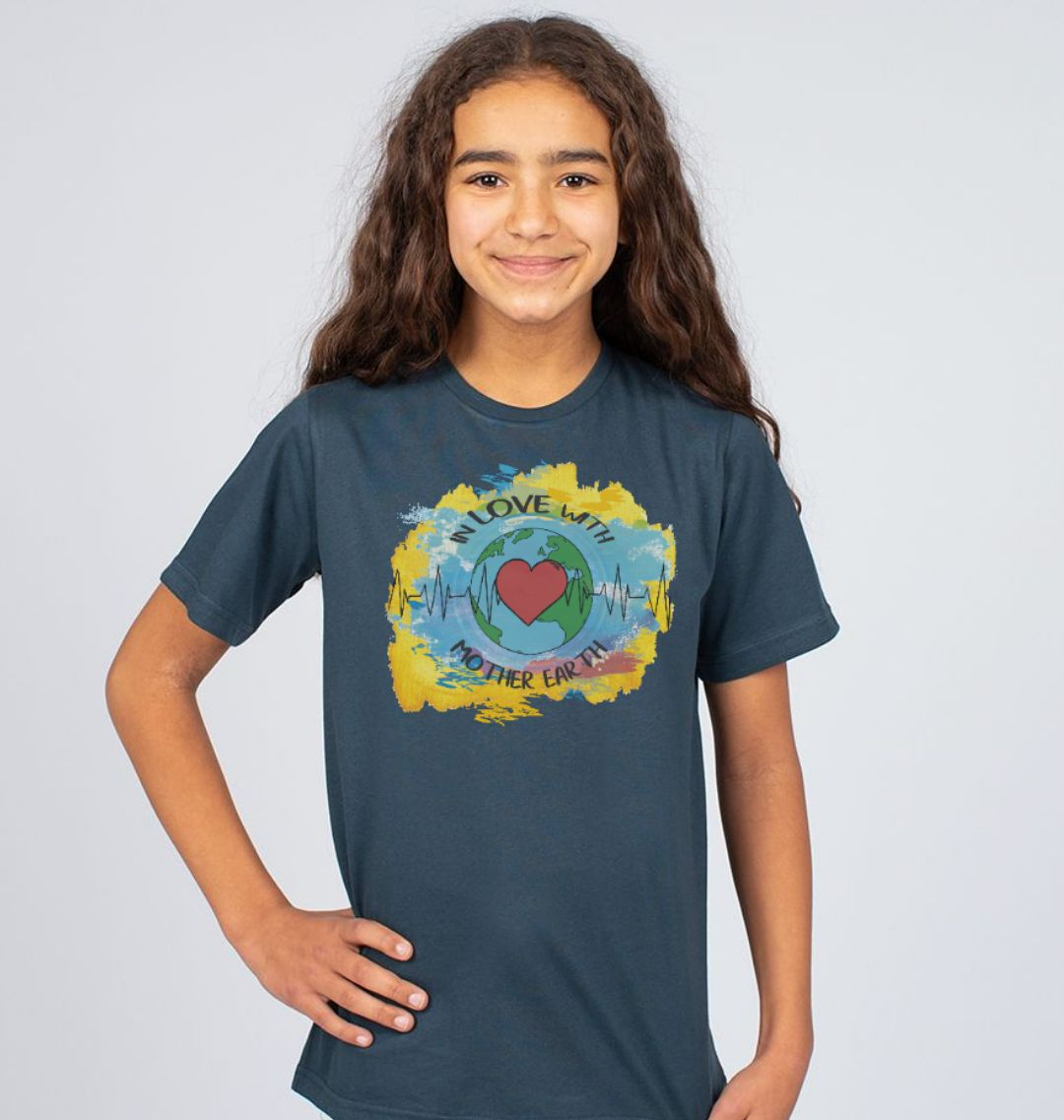 Children's Climate T Shirt 'In Love With Mother Earth' Soft Organic Cotton denim blue