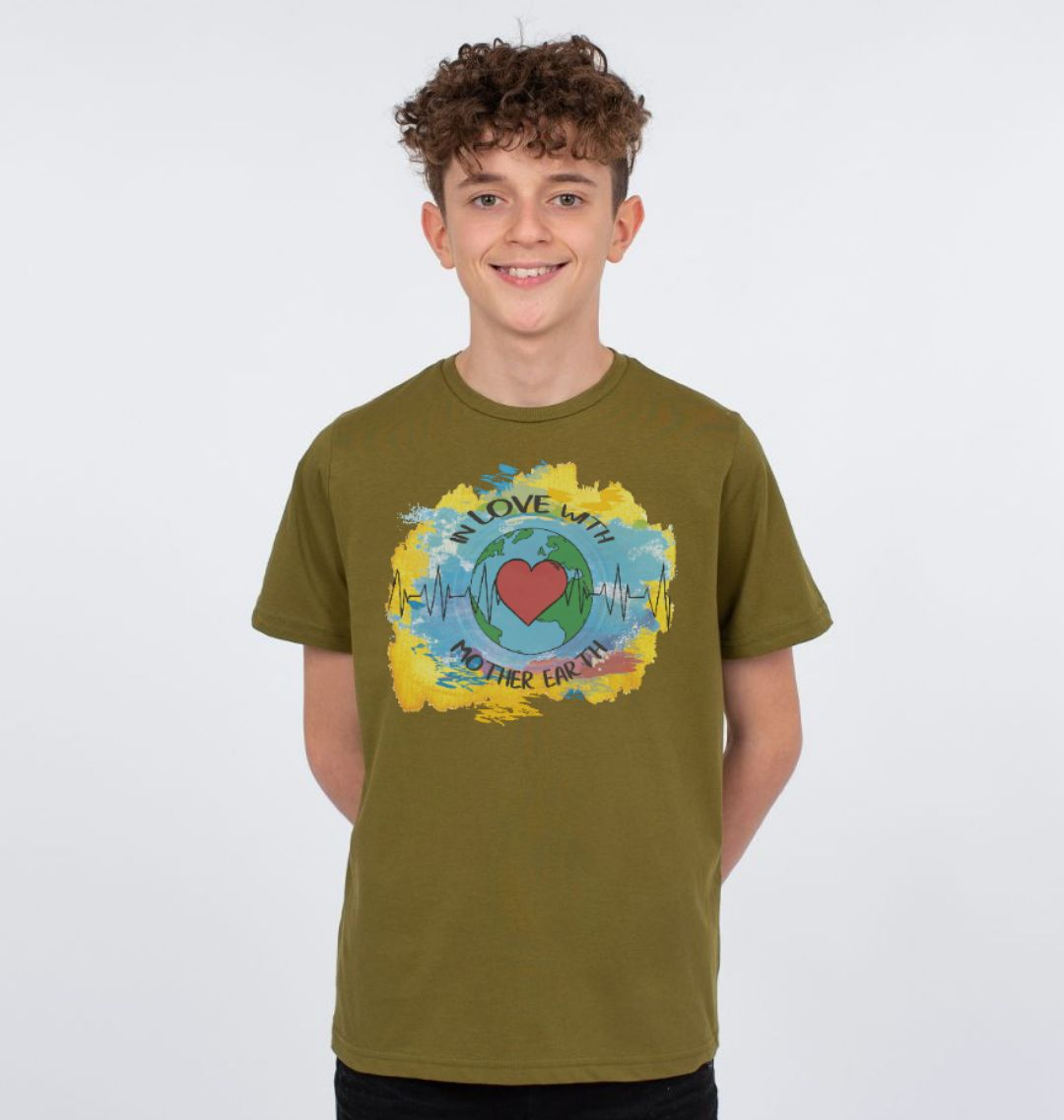 Children's Climate T Shirt 'In Love With Mother Earth' Soft Organic Cotton moss green