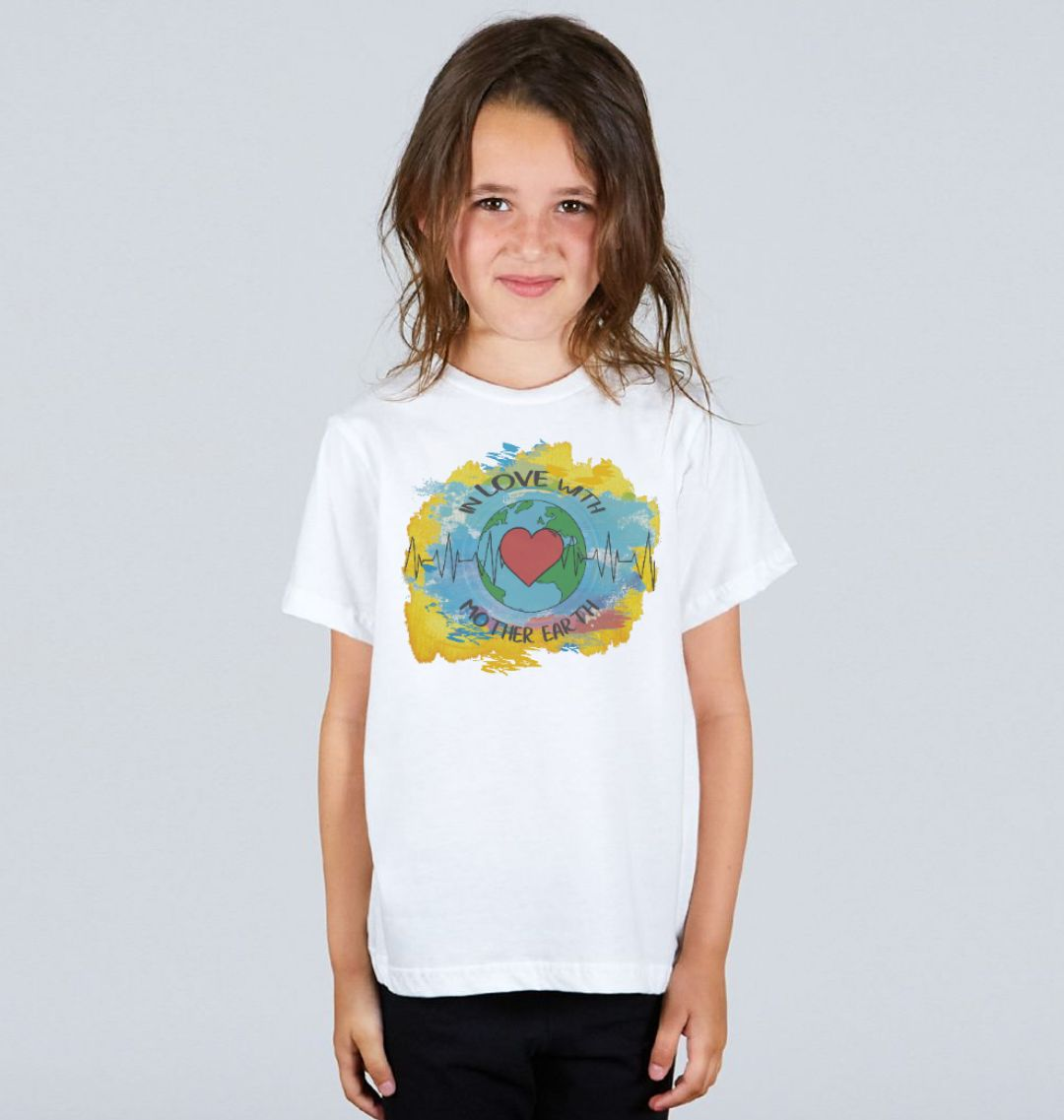 Children's Climate T Shirt 'In Love With Mother Earth' Soft Organic Cotton white