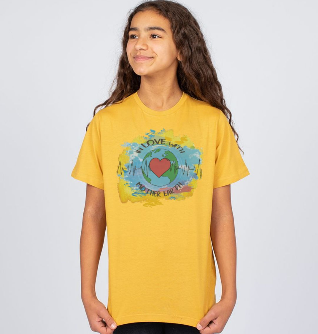 Children's Climate T Shirt 'In Love With Mother Earth' Soft Organic Cotton mustard yellow