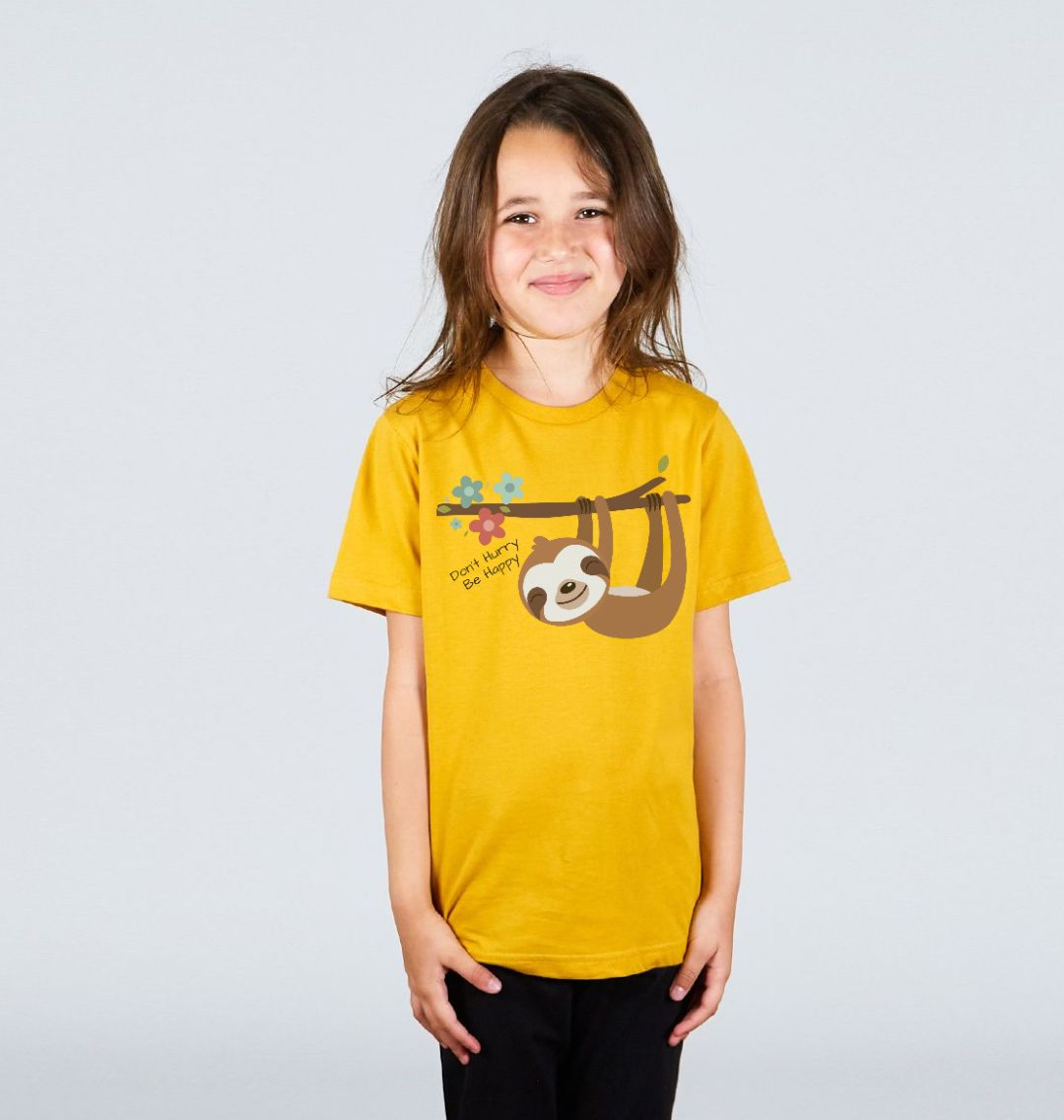 Don't Hurry Be Happy Cute Sloth Children's Organic Cotton T Shirt mustard yellow