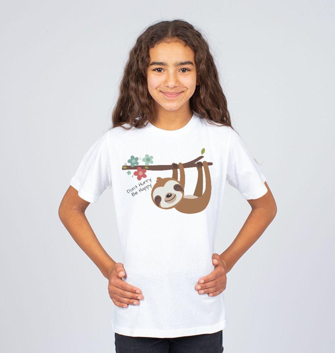 Don't Hurry Be Happy Cute Sloth Children's Organic Cotton T Shirt white