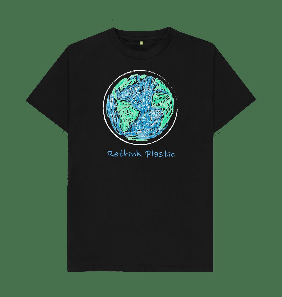 RETHINK PLASTIC Mens Eco Friendly T-shirt Top - Organic Cotton, Vegan