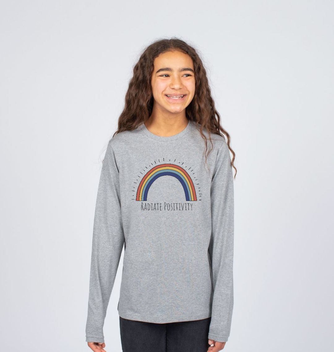 'Radiate Positivity' Rainbow Children's T Shirt - Soft Organic Cotton grey