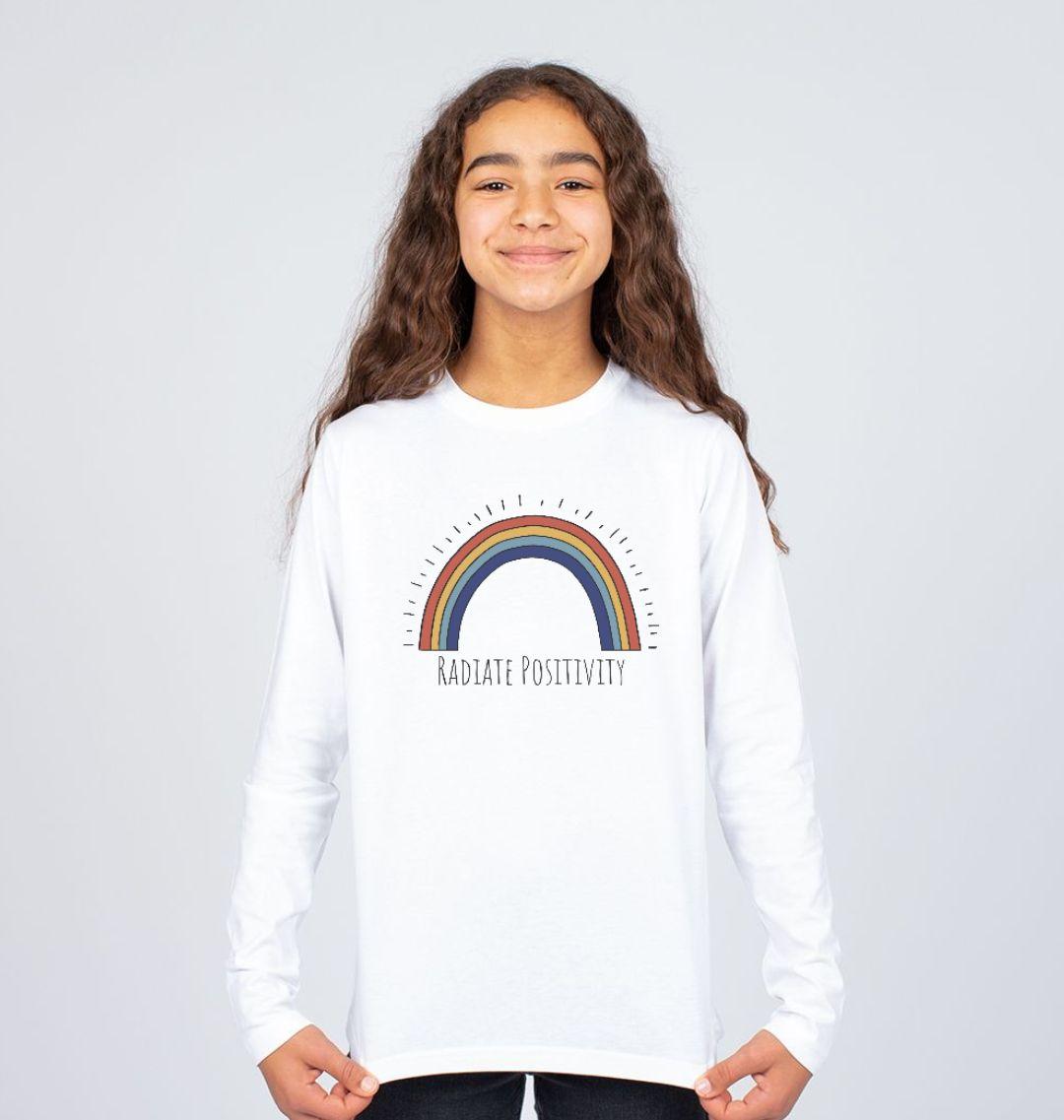 'Radiate Positivity' Rainbow Children's T Shirt - Soft Organic Cotton white