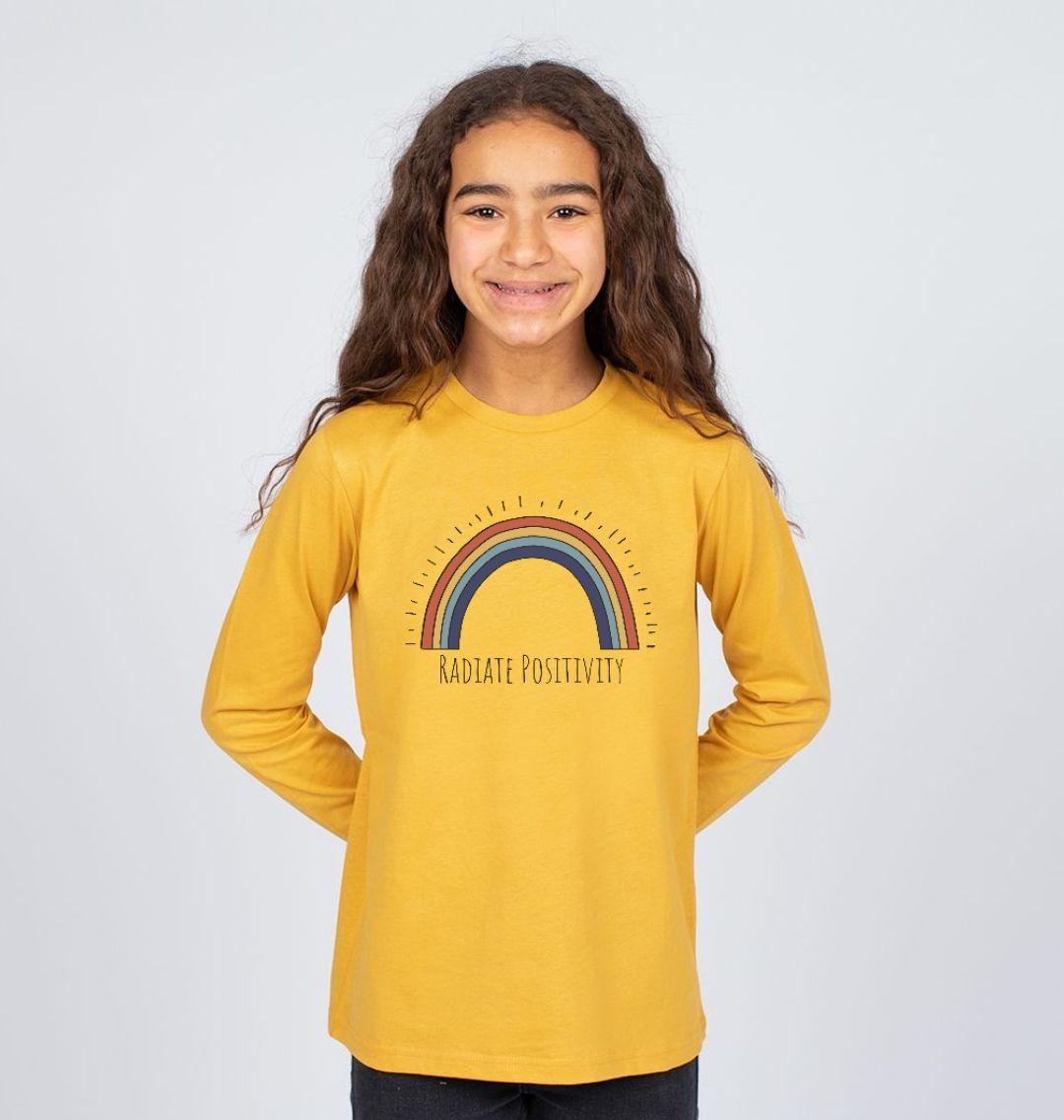 'Radiate Positivity' Rainbow Children's T Shirt - Soft Organic Cotton yellow