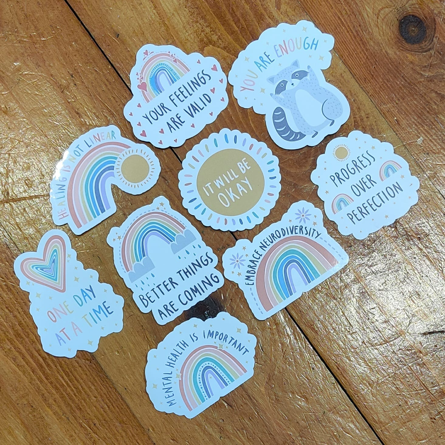 Pastel Rainbow Stickers | Mental Health Support | Positive Reminder | Encouragement | Positive Stickers | Anxiety | Charity Donation Kind Shop 2