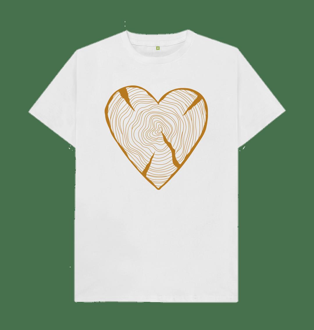 Nature Lovers T Shirt Adventure Heart Tree Trunk Rings white