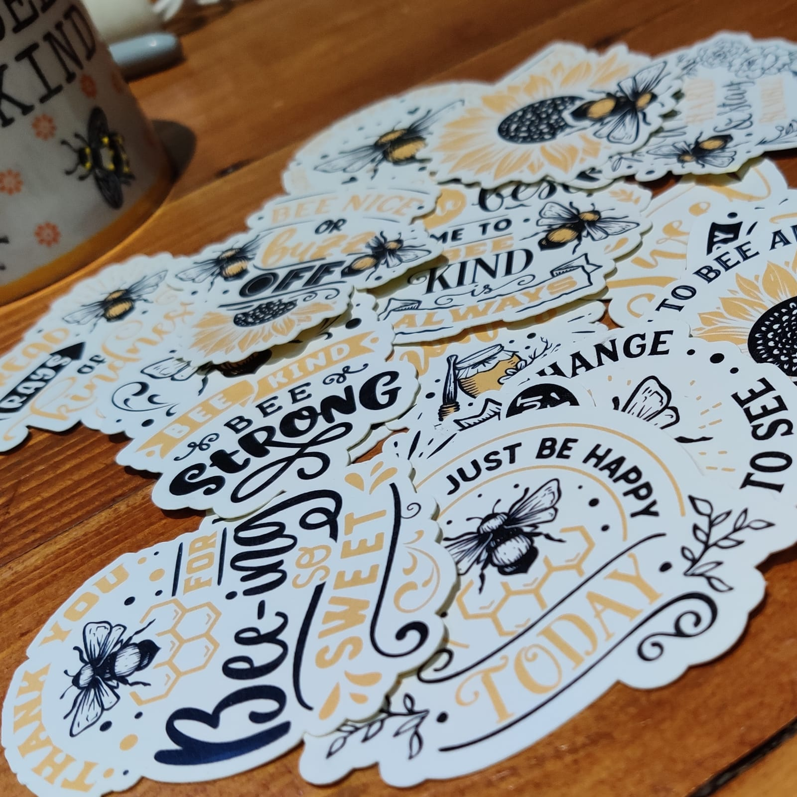 Positivity Bee Themed Stickers | Mental Health Support | Positive Reminder | Encouragement | Bumble Bee Sticker | Anxiety | Charity Donation Kind Shop