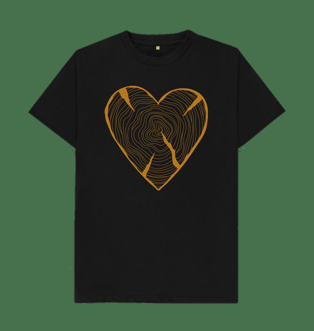 Nature Lovers T Shirt Adventure Heart Tree Trunk Rings black