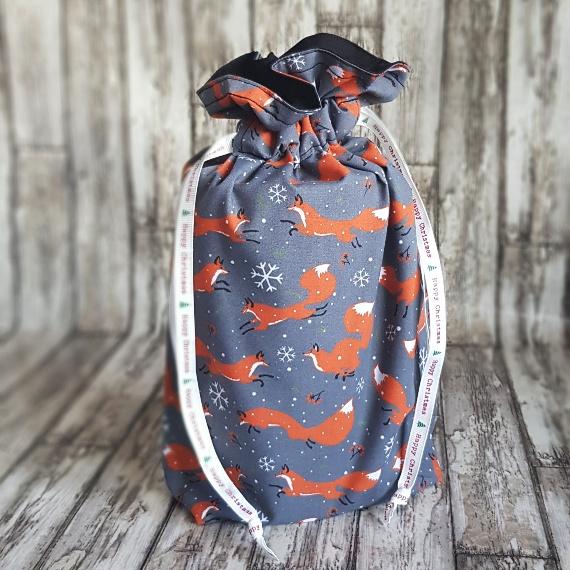 Eco-Friendly Fully Lined Reusable Christmas Gift Bag Storage Bag | Christmas Foxes Kind Shop 2