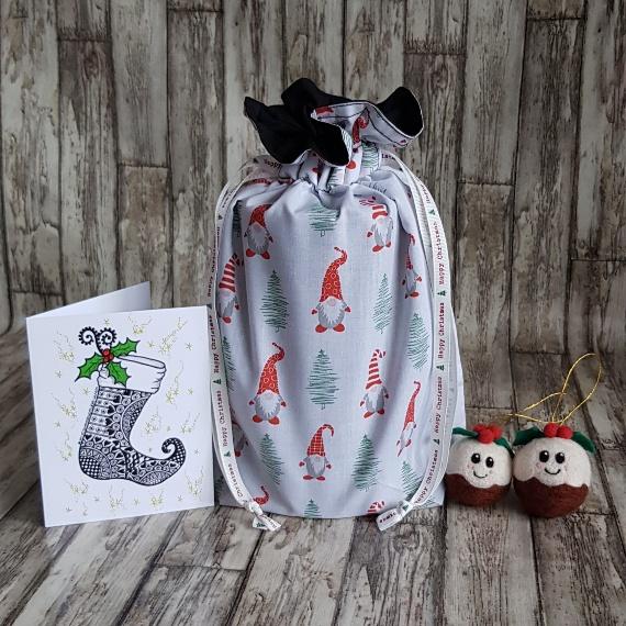 Eco-Friendly Fully Lined Reusable Christmas Gift Bag Storage Bag   Gnome Gonk Kind Shop
